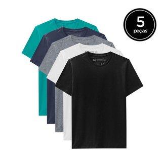 Kit de 5 Camisetas Básicas de Várias Cores Masculina