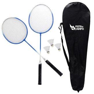 Kit de badminton com 02 raquetes de aço e 03 volantes Pista