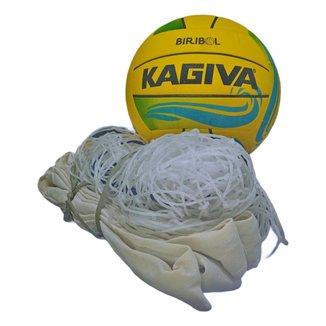 Kit De Biribol Completo Esportivo Com Bola Kagiva E Rede Pangué De Lona Algodão Fio 2 Resistente 482