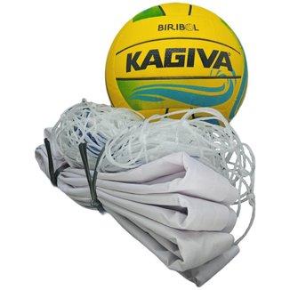 Kit De Biribol Completo Esportivo Com Bola Kagiva E Rede Pangué Lona Sintética Fio 2 Resistente 253