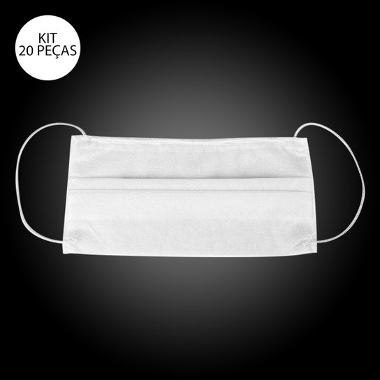 Kit de Máscaras de Proteção Descartável com Haste de Nariz - Kidy TNT Dupla Camada - 20 Unid - Branco