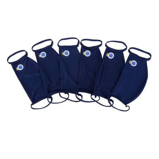 Kit de Máscaras de Proteção Juvenil Cruzeiro Laváveis - 6 Unid - Marinho