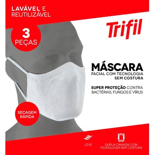 Kit De Máscaras Trifil Lavável Reutilizável 3 Unidades - Branco