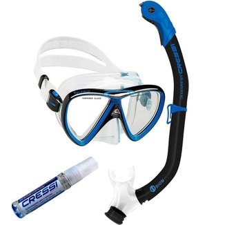 Kit de Mergulho Máscara+Respirador Cressi Ikarus Semi Dry + Anti Fog Sea Gold