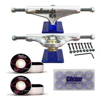 Kit De Skate Truck Stronger Blue 139mm Roda 53mm Rolamento Importado Chaze