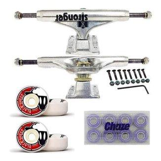 Kit De Skate Truck Stronger Prata 139mm Roda 55mm e Rolamento Importado Chaze