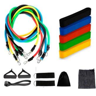 Kit Elásticos Extensor Resistente 11 Itens Mais Kit 5 Mini Bands Liquidação Treino Em Casa