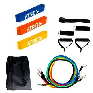 Kit Elásticos Extensor Resistente Com 11 Itens + 3 Mini Band Faixa Elástica