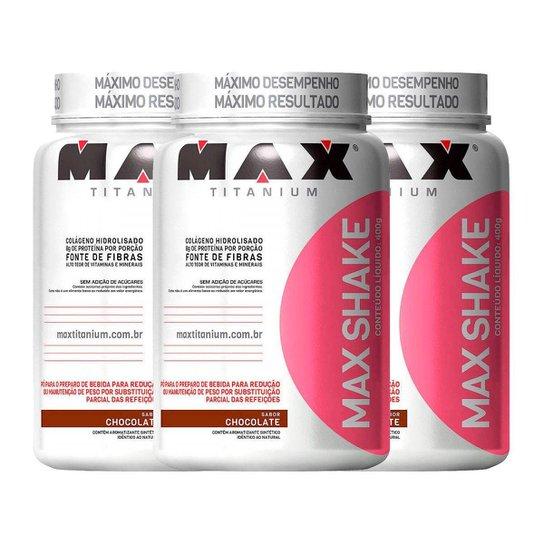 Kit Emagracimento 3x Max Shake 400g Chocolate - Max Titanium -