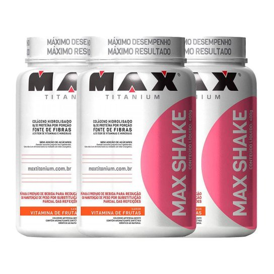 Kit Emagracimento 3x Max Shake 400g Vitamina de Frutas - Max Titanium -