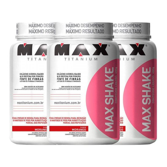 Kit Emagracimento 3x Max Shake - Morango - 400g Max Titanium -