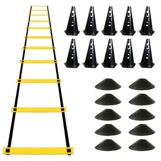 Kit Escada de Agilidade + 10 Chápeus Chinês Preto + 10 Cones Furados