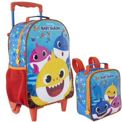 Kit Escolar Xeryus Baby Shark R1 Mochila C/ Rodinhas 16 + Lancheira