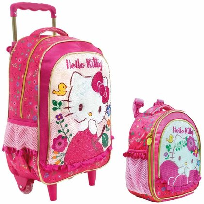 Kit Escolar Xeryus Hello Kitty Magic Touch Mochila C/ Rodinhas 16 + Lancheira