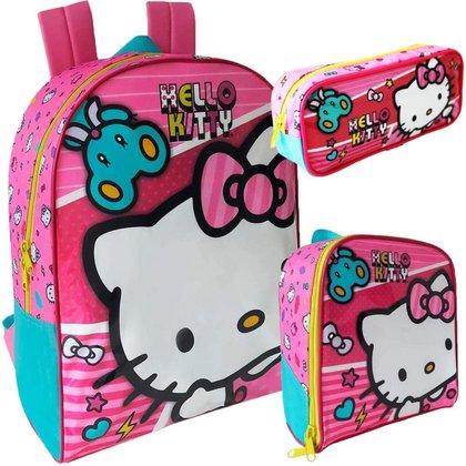 Kit Escolar Xeryus Hello Kitty X1 Mochila 16 + Lancheira + Estojo