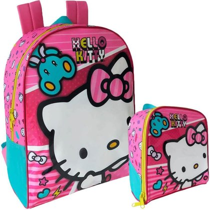 Kit Escolar Xeryus Hello Kitty X1 Mochila 16 + Lancheira
