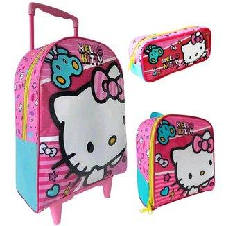 Kit Escolar Xeryus Hello Kitty X1 Mochila C/ Rodinhas 16 + Lancheira + Estojo