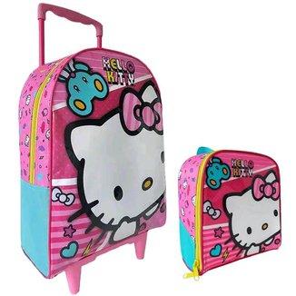 Kit Escolar Xeryus Hello Kitty X1 Mochila C/ Rodinhas 16 + Lancheira