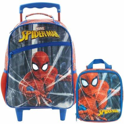 Kit Escolar Xeryus Spider Man Protector Mochila C/ Rodinhas 16 + Lancheira