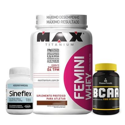Kit Femini Whey 900g – Max Titanium + BCAA 120Cáps-PowerFoods + Sineflex 150Cáps Power Supplements