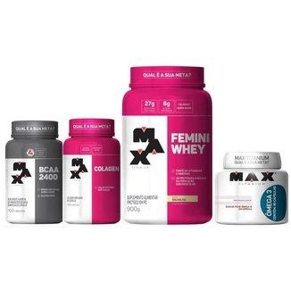 Kit Femini Whey 900g+Colágeno 100 Cap+ Bcaa 100 Cap+Omega 3
