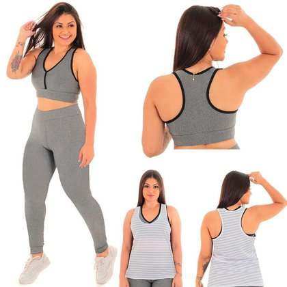 Kit Feminino Conjunto Fitness com Calça Legging ,Top e Regata Dry Fit