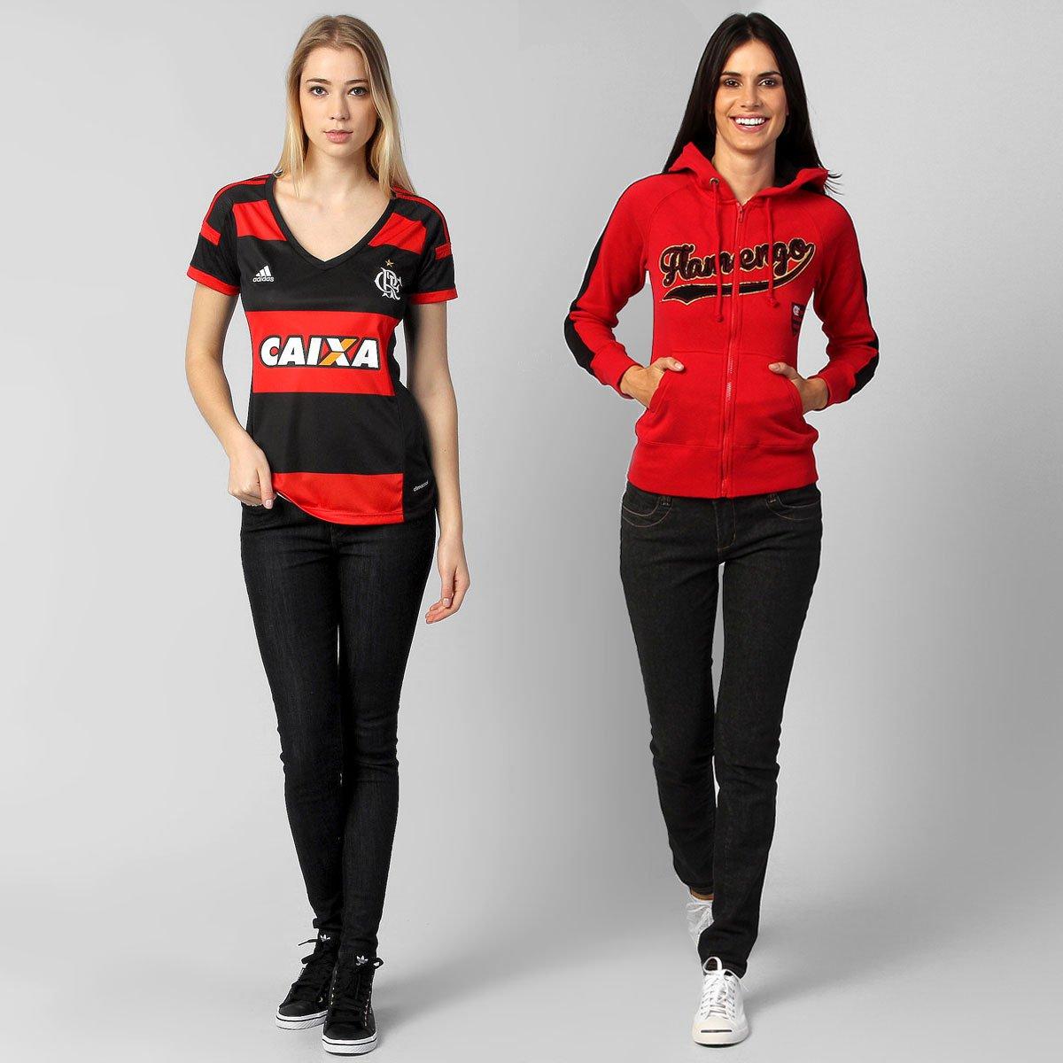 69ac186af4473 Kit Feminino Flamengo - Camisa Feminina Adidas Flamengo I 14 15 + Jaqueta -  Compre Agora