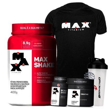 Kit Feminino Massa Muscular Max Titanium - Max Shake + Bcaa  + Creatina + Coqueteleira + Camisa