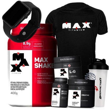 Kit Feminino Massa Muscular Max Titanium - Max Shake + Bcaa  + Creatina + Glutamina + Relogio + Cami