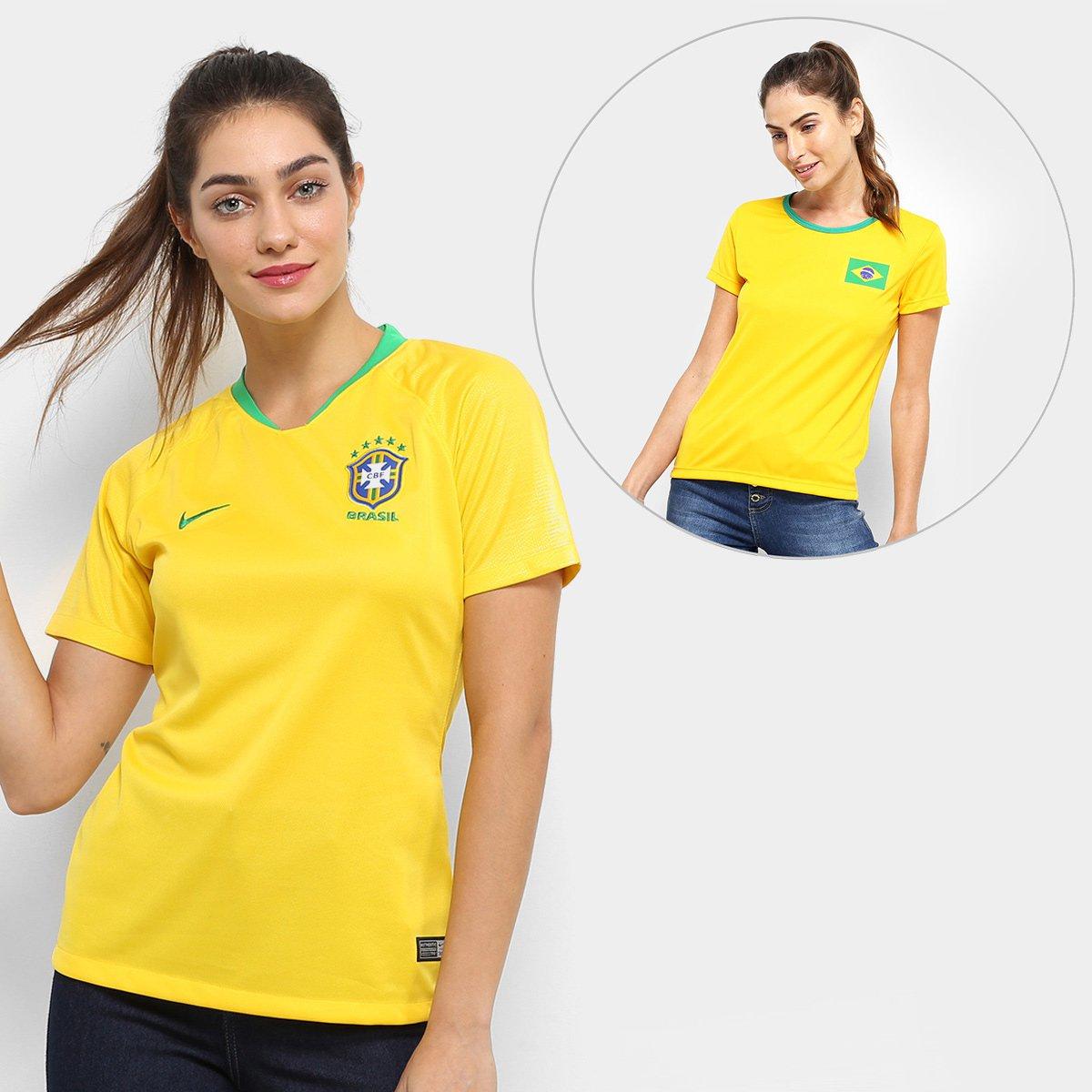 8372d053f Kit Feminino Torcida Brasil - Camisa Nike Seleção Brasil I 2018 s nº + Camisa  Torcedor - Compre Agora