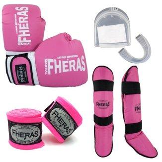 Kit Fheras Luva de Boxe / Muay Thai Tradicional 10 oz +  Bandagem + Bucal + Caneleira