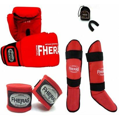 Kit Fheras Luva de Boxe / Muay Thai Tradicional 12 oz +Bandagem + Bucal + Caneleira