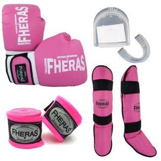 Kit Fheras Luva de Boxe / Muay Thai Tradicional 12 oz +  Bandagem + Bucal + Caneleira