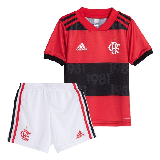 Kit Flamengo Infantil I 21/22 s/n° Torcedor Adidas - Vermelho+Branco