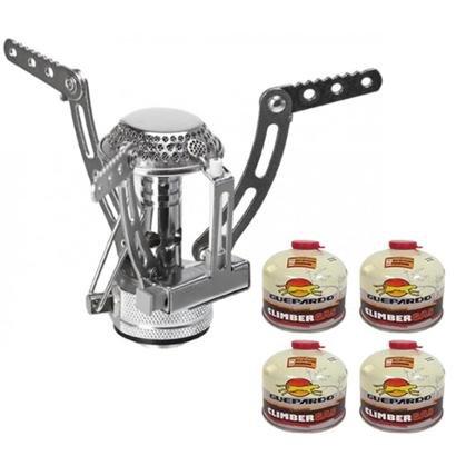 Kit Fogareiro Portátil Inox + 4 Cartuchos de Gás Climber Guepardo Gas - Unissex