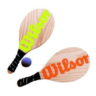 Kit Frescobol 2 Raquetes Laranja/Verde e 1 Bola - Wilson
