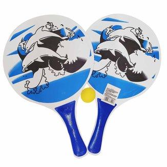 Kit Frescobol BLS 2 Raquetes + 1 Bola - Azul