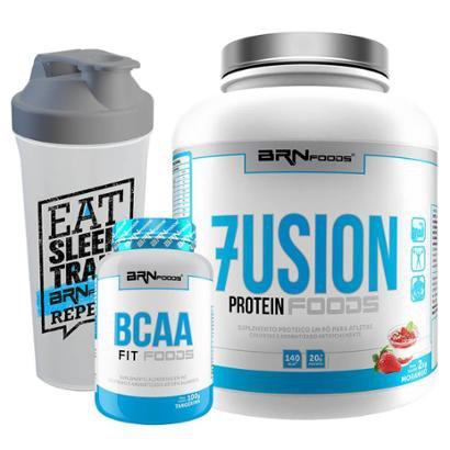 Kit Fusion Protein 2kg + Premium BCAA 450 caps + Coqueteleira – BRNfoods