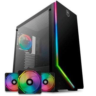 Kit Gabinete Pichau Archangel X RGB + Kit Ventoinhas Wave RGB 3x + Controladora