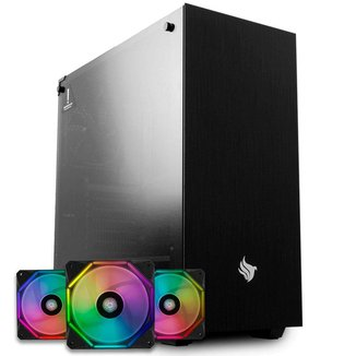Kit Gabinete Pichau Dragoon + Kit Ventoinhas Wave RGB 3x + Controladora