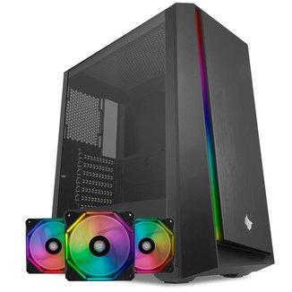 Kit Gabinete Pichau Dragoon R RGB + Kit Ventoinhas Wave RGB 3x + Controladora