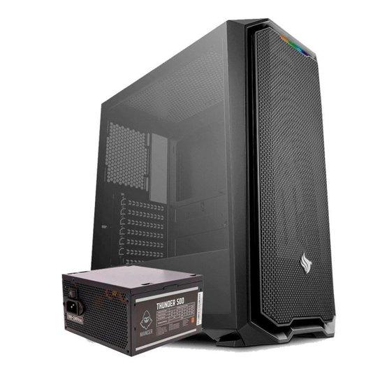 Kit Gabinete Pichau Gaming Gadit X + Fonte Mancer Thunder 500W - Preto
