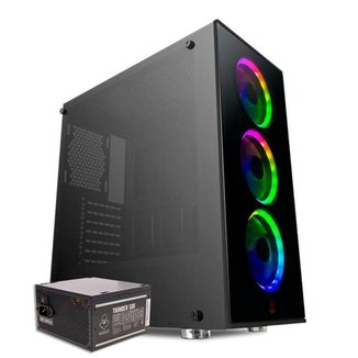 Kit Gabinete Pichau Pouter 2 Led RGB + Fonte Mancer Thunder 500W