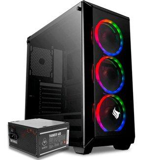 Kit Gabinete Pichau Rostock RGB + Fonte Mancer Thunder 600W
