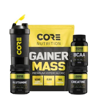 Kit Gainer Mass + BCAA + Creatina + Glutamina + Shaker Core Nutrition