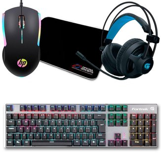 Kit Gamer Mouse HP M160 + Mousepad Bits Gamer + Teclado Mecânico Black Hawk + Headset G Pro H2