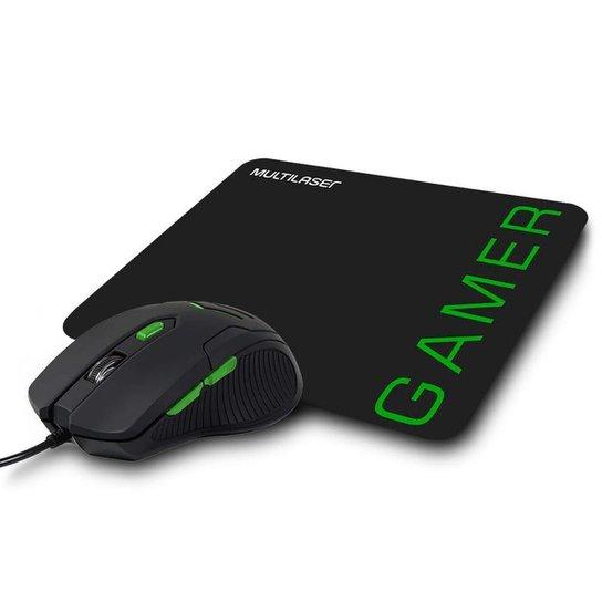 Kit Gamer Multilaser - Mouse 3200DPI + Mousepad Speed Preto/Verde - Preto