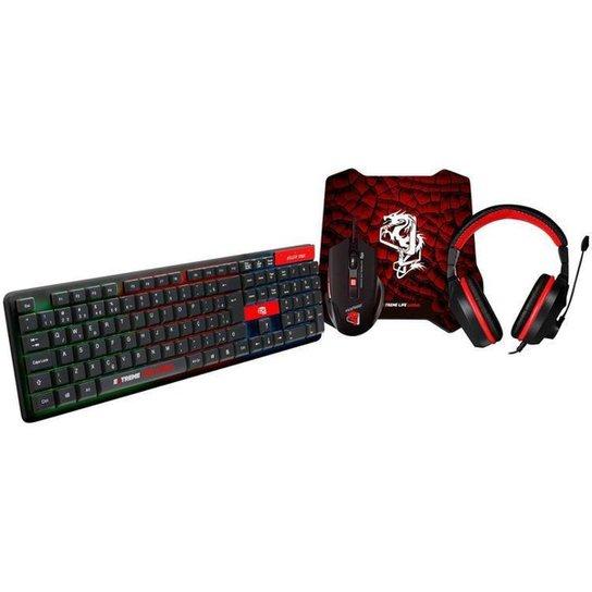 Kit Gamer Teclado Mouse Headset ELG - Starter 4 em 1 - Preto+Vermelho
