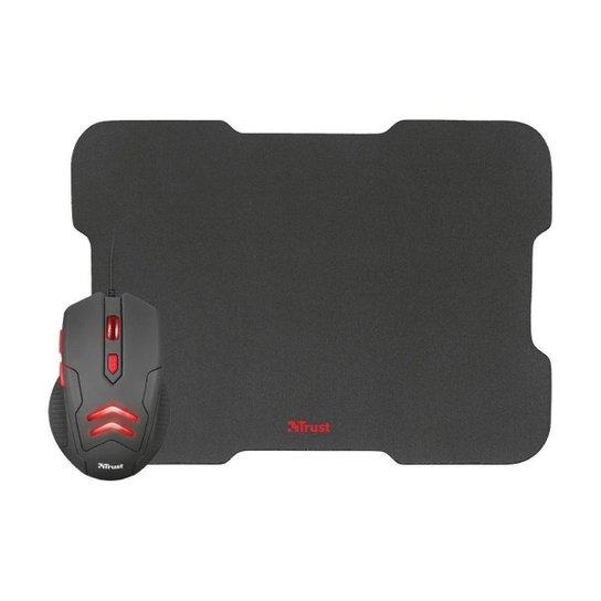 Kit Gamer Trust Mouse Ziva 3000dpi com fio e Mousepad - Preto