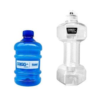 Kit Garrafa Halter Dagg Tank 1,5L Cristal De Água e Mini Galão Dagg 1L Azul Squeeze Treino